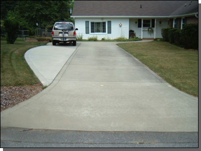Broomed Finish with Accent Bands  NOTE: Parking area (to left) was added 3 years after driveway