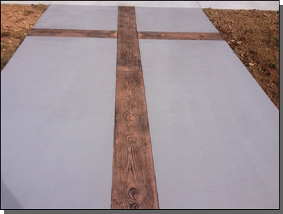 Oakley Baptist Church Asheville, North Carolina Gray Stained Sidewalk with Wood Plank Cross Stamp