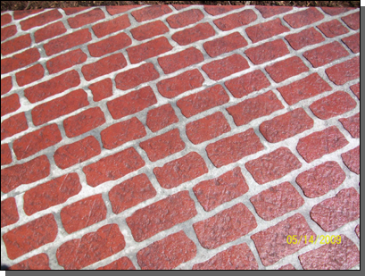 Brick red color / Charcoal release (Old Chicago Brick stencil pattern)